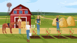 Farm working Vector. Farmers collecting harvest, growing plants and working. Agriculture countryside project template poster - starpik