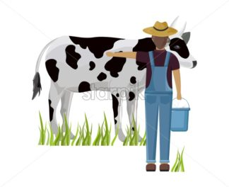 Farmer taking care of cow Vector. Female farmer working. animal care poster. Isolated on a white background - starpik