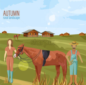 Farmers couple in autumn rural landscape Vector. Woman holding a horse countryside illustration - starpik