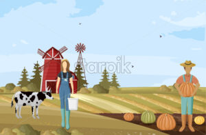 Farmers couple working Vector. Agriculture countryside project template poster - starpik