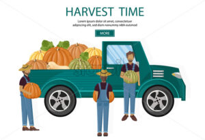 Farmers harvest van Vector. Fall season banner agriculture template - starpik