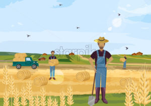 Farmers working hay fields vector flat style - starpik