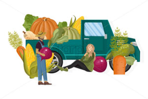 Farming van Vector. Harvest fall season banner. Retro car vintage style - starpik