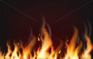 Fire background Vector realistic. Flame burning 3d illustration dark banner poster - starpik