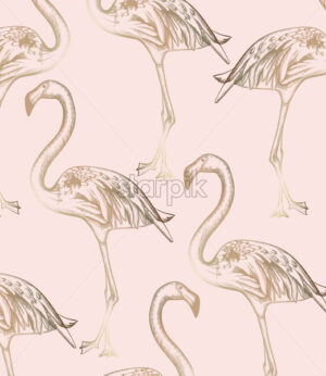 Flamingo pattern Vector. Vintage retro texture line art decor - starpik