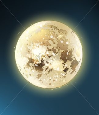 Full moon shiny night background Vector. Dark blue sky illustration - starpik