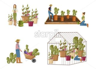 Gardeners set collection Vector flat style. Woman and man working in the greenhouse planting, harvesting and growing eco product - starpik
