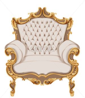 Golden baroque armchair Vector. Luxurious furniture design. Victorian rich ornaments decor - starpik