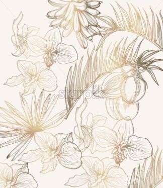 Golden tropic flowers vector line art. Summer floral frame decoration - starpik