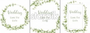 Green card leaves Vector watercolor set. Summer round and vertical botanical greetings. Elegant botany poster - starpik