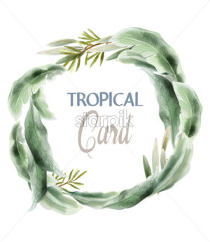 Green card leaves Vector watercolor. Summer round tropic botanical poster - starpik