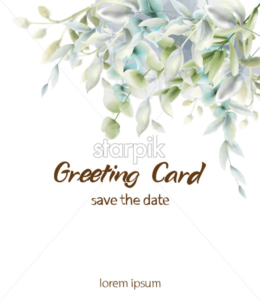 Green leaves boho card Vector watercolor. Summer round and vertical botanical greetings. Elegant botany poster - starpik