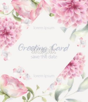 Greeting card crysanthemum Vector watercolor. Delicate decor textures floral background - starpik