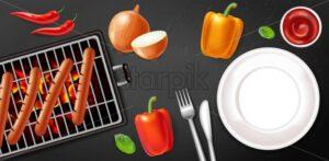 Grill sausage and empty plate Vector realistic. Meat and veggies menu poster. Detailed 3d illustration - starpik