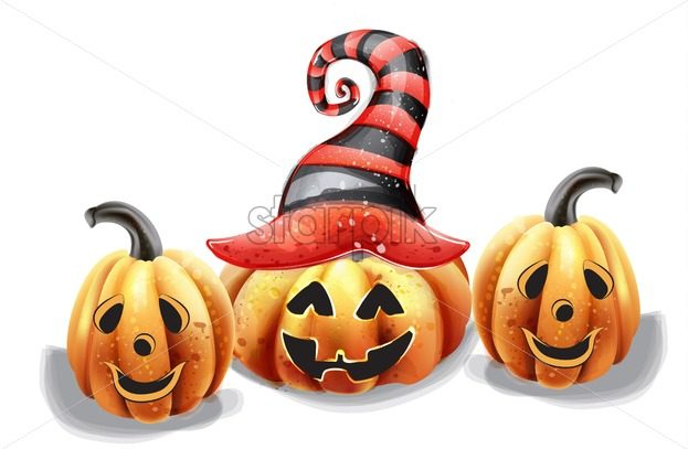 Halloween pumpkin happy faces vector watercolor. Smilling pumpkin witch hat decor - starpik