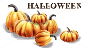 Halloween pumpkins vector watercolor. Balloons and hat decor - starpik