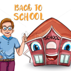Happy Kid and cartoon house back to school concept Vector. Cartoon characters illustration - starpik