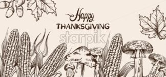 Happy Thanksgiving card line art Vector. Corn autumn harvest illustration - starpik