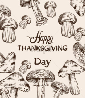 Happy Thanksgiving card line art Vector. Mushrooms and veggies detailed illustration - starpik