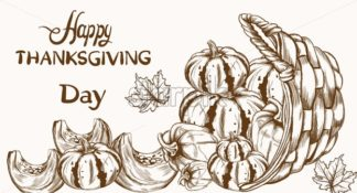 Happy Thanksgiving card pumpkin line art Vector. Basket of autumn harvest - starpik