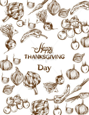 Happy Thanksgiving day Vector card. Autumn fall veggies harvest - starpik