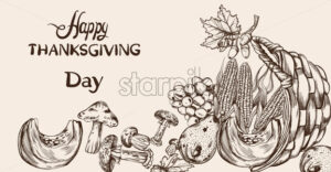 Happy Thanksgiving dinner menu line art Vector. Fall havest veggies detailed illustration - starpik