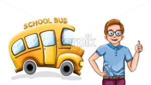 Happy boy and school bus Vector funny cartoon illustration - starpik