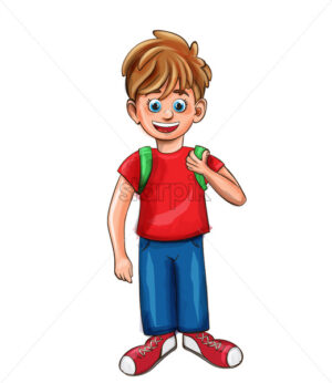Happy boy smilling cartoon character Vector. Red shirt retro style - starpik