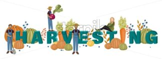 Harvesting text template with farmers Vector layout banner poster - starpik