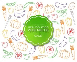 Healthy vegetables poster line art colorful Vector. Green label banner menu template - starpik