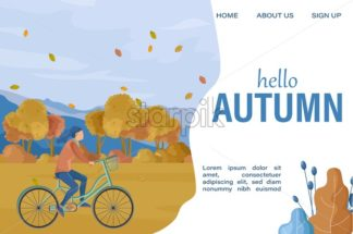 Hello Autumn woman on bicycle Vector flat style. Fall season lifestyle cycling in park - starpik
