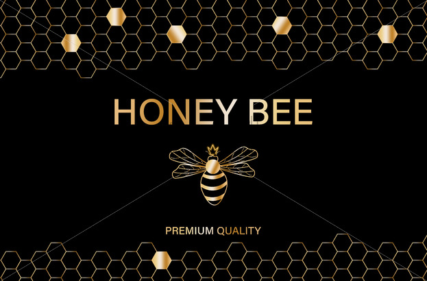 Honey bee golden label Vector. Product placement quality template poster - starpik