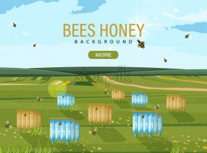 Honey bee hives Vector. Bees flying. nature background template - starpik
