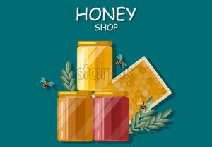 Honey bottles Vector flat style. Fresh product template label - starpik