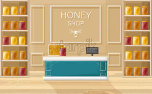 Honey shop Vector flat style. Store shelves with honey bottles template - starpik