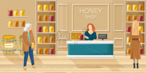 Honey shop Vector flat style. Women buying honey template - starpik