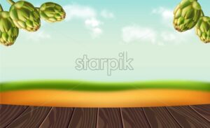 Hops on rustic background Vector realistic. Falling green fresh hops nature. 3d illustration - starpik