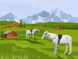 Horses at rural landscape Vector. Summer agriculture mountains view background - starpik