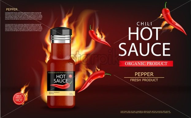 Hot chili sauce on fire vector realistic. Product placement mock up bottle. Label design advertise 3d illustration - starpik