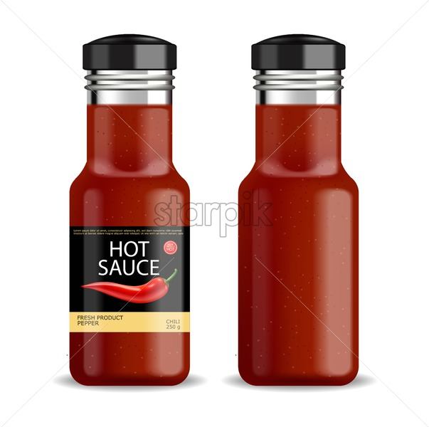 Hot chilli sauce vector isolated realistic. Product placement mock up bottle. Label design advertise 3d illustration - starpik