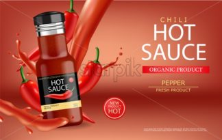 Hot chilli sauce vector realistic with splash. Product placement mock up bottle. Label design advertise 3d illustration - starpik