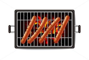 Hot dog grill Vector realistic. Banner tasty menu brochure template hot sausages. 3d illustration food - starpik