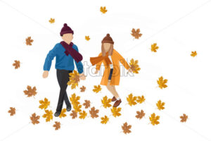 Kids playing outdoors autumn Vector. Happy fall lifestyle illustration - starpik