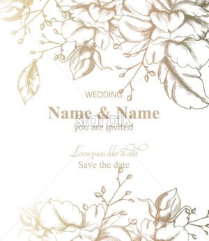 Leaves decor card Vector line art. Vintage retro style wedding invitation or greeting - starpik