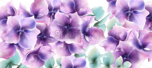 Lily flowers card background Vector watercolor. Floral wedding decor - starpik