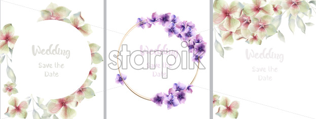 Lily flowers cards set collection Vector watercolor. Floral wedding decor - starpik