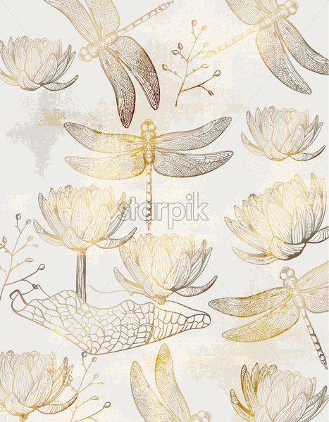 Lotus and dragonfly pattern Vector line art. Golden texture shiny decor - starpik