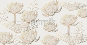 Lotus pattern Vector line art. Golden texture shiny floral decor - starpik