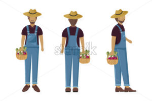 Man gardener Vector flat style character cartoon. Agriculture man collecting harvest set - starpik