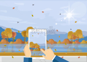 Man with smartphone taking picture of autumn landscape Vector. Fall season landscape flat style - starpik